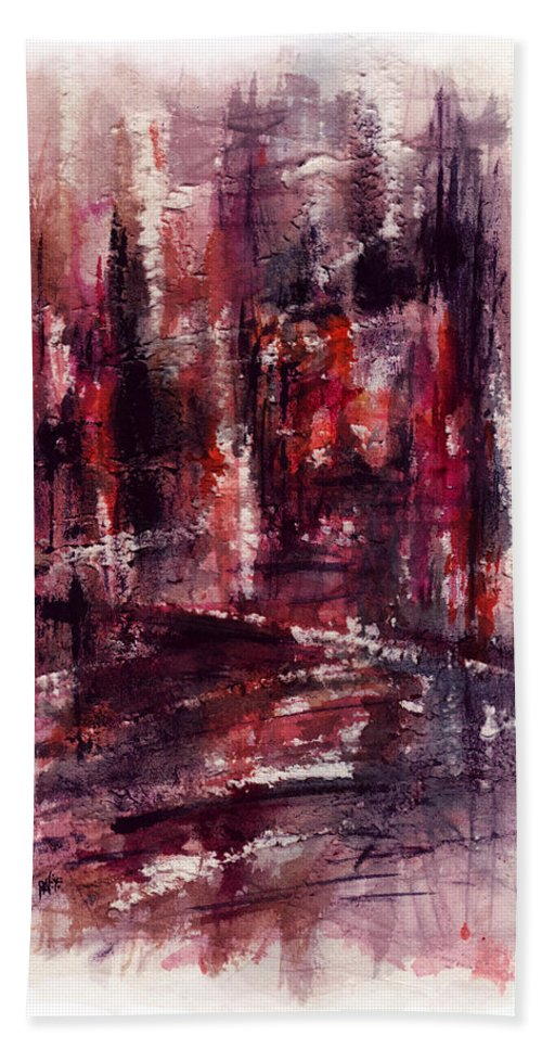 Abstract Beach Towel featuring the painting City Heat by Rachel Christine Nowicki