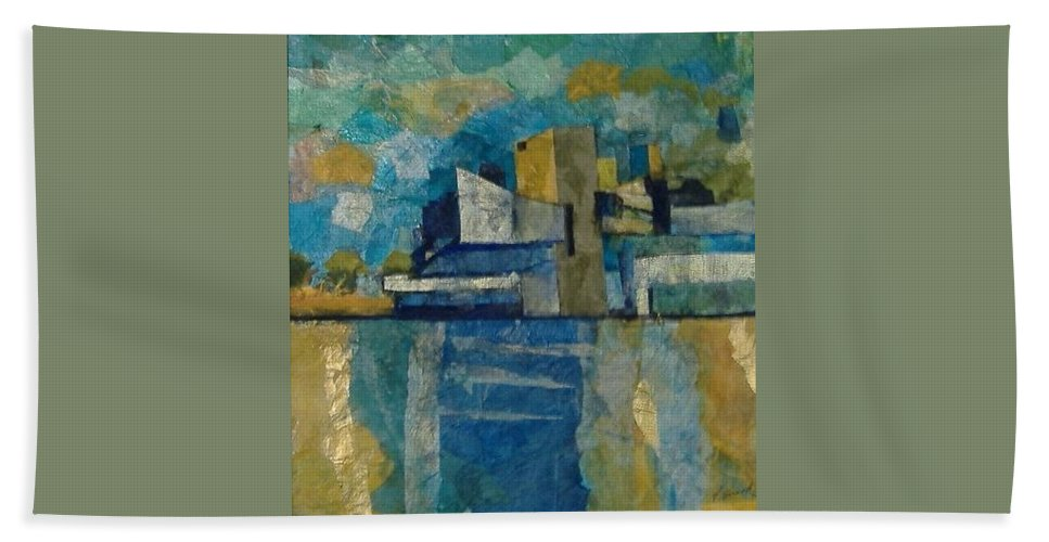 Beach Towel featuring the mixed media City In Harmony by Pat Snook