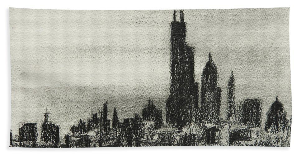 City Beach Towel featuring the drawing City Love I by William Russell Nowicki