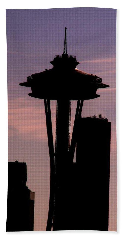 Seattle Beach Sheet featuring the digital art City Needle by Tim Allen
