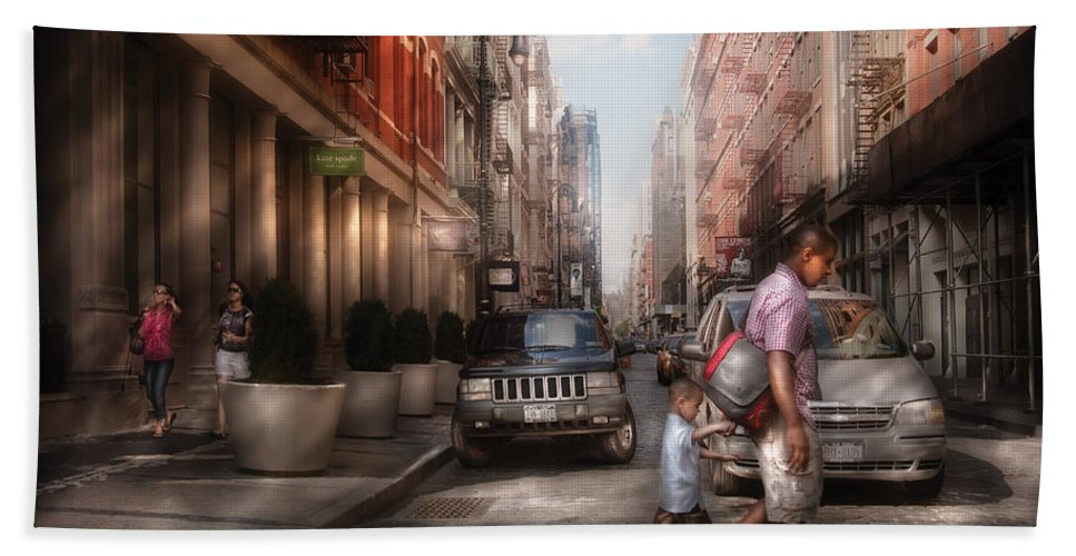 Savad Beach Towel featuring the photograph City - Ny - Walking Down Mercer Street by Mike Savad