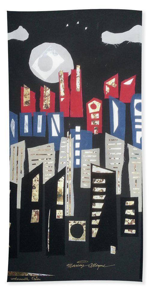 Beach Towel featuring the mixed media City Of Gold #52 by Marcus Alleyne