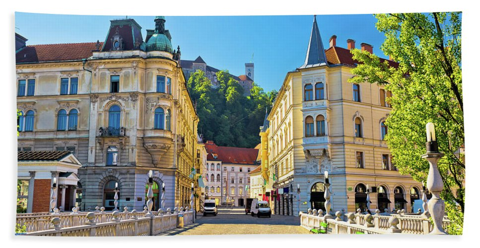 Square Beach Towel featuring the photograph City Of Ljubljana View From Tromostovje Bridge by Brch Photography