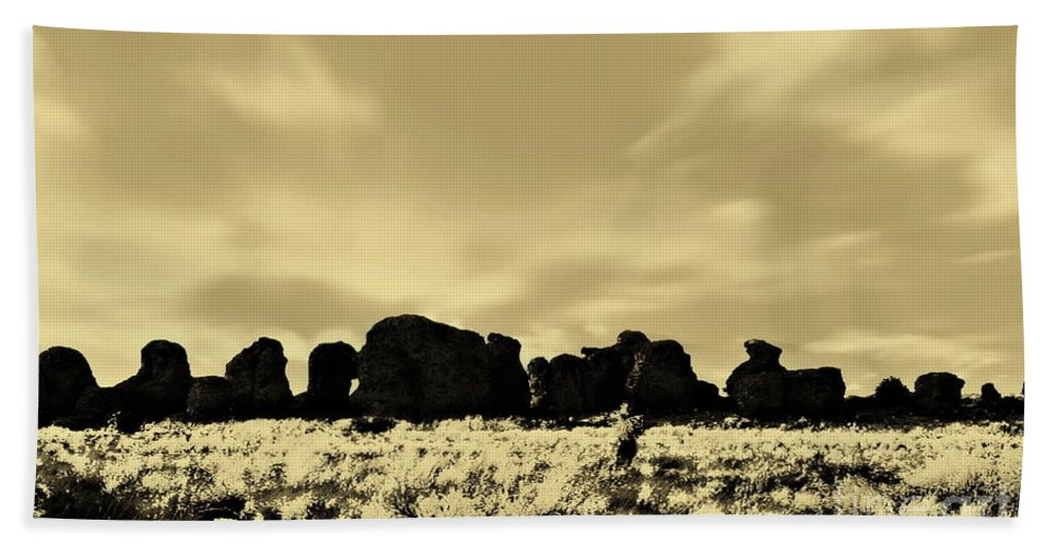 Digital Sepia Photo Beach Towel featuring the photograph City Of Rocks S by Tim Richards