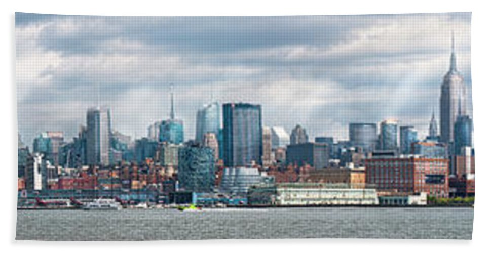 New York Beach Towel featuring the photograph City - Skyline - Hoboken Nj - The Ever Changing Skyline by Mike Savad