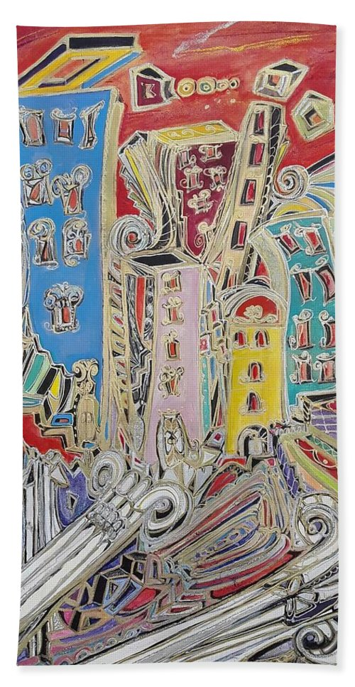 City Beach Towel featuring the painting City Sunset, by Anna Theodorakis