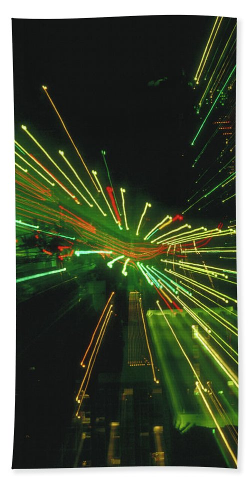 Night Beach Towel featuring the photograph City Zoom by Jerry McElroy
