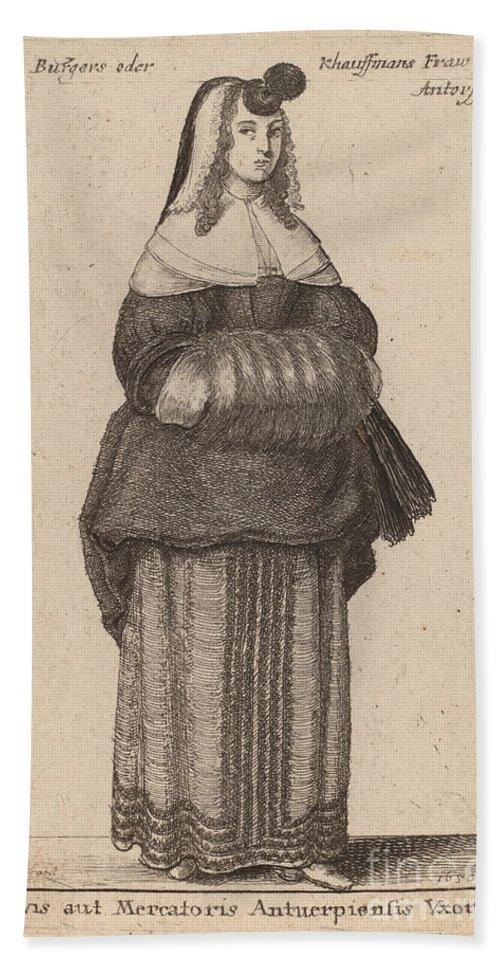 Beach Towel featuring the drawing Ciuis Aut Mercatoris Antuerpiensis Vxor by Wenceslaus Hollar