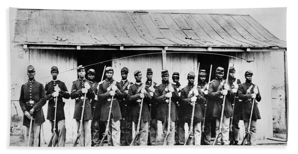 1860s Beach Towel featuring the photograph Civil War: Black Troops by Granger
