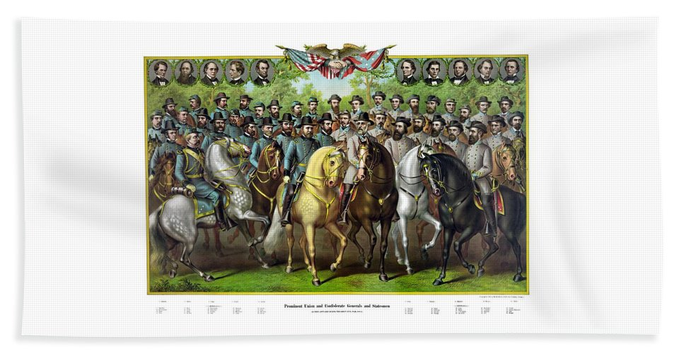 Civil War Beach Towel featuring the painting Civil War Generals And Statesman With Names by War Is Hell Store