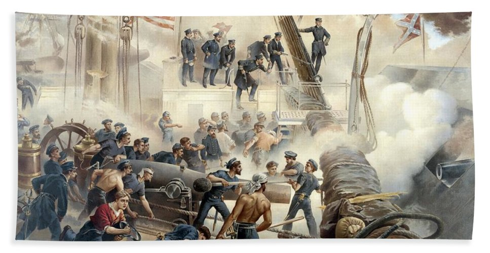 Civil War Beach Towel featuring the painting Civil War Naval Battle by War Is Hell Store