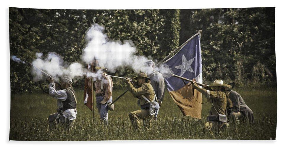 Civil War Re-enactment Beach Towel featuring the photograph Civil War Re-enactment by Kim Henderson