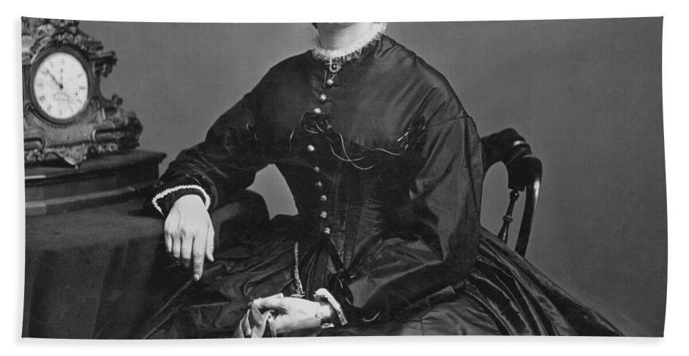 1866 Beach Towel featuring the photograph Clara Barton (1821-1912) by Granger