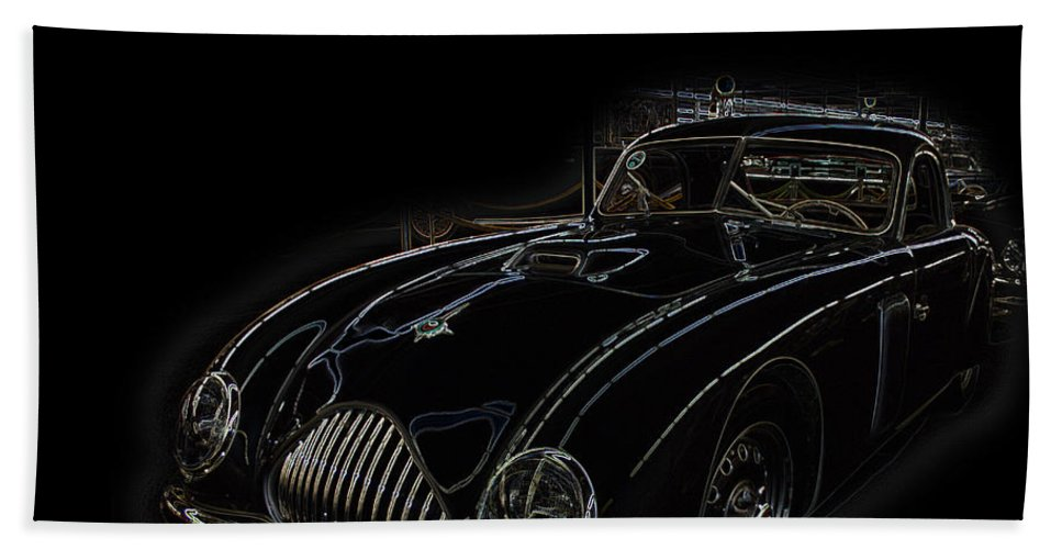 Classic Car Antique Show Room Vehicle Glowing Edge Black Light Chevy Dodge Ford Ride Beach Towel featuring the photograph Classic 2 by Andrea Lawrence