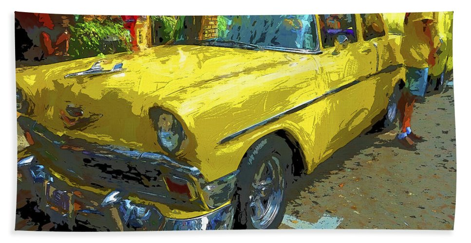 Classic 56 Chevy Car Beach Towel featuring the photograph Classic 56 Chevy Car Yellow by Rebecca Korpita