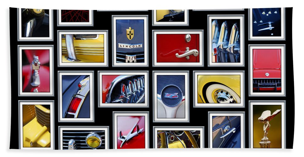 Classic Cars Beach Towel featuring the photograph Classic Car Montage Art 1 by Jill Reger