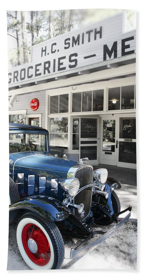 Chevy Beach Sheet featuring the photograph Classic Chevrolet Automobile Parked Outside The Store by Mal Bray