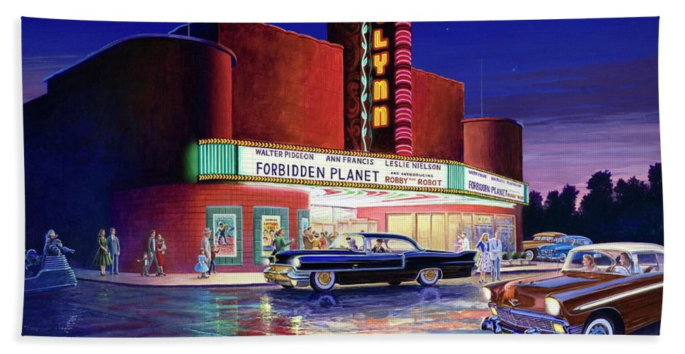 Gaylynn Beach Towel featuring the painting Classic Debut - The Gaylynn Theatre by Randy Welborn