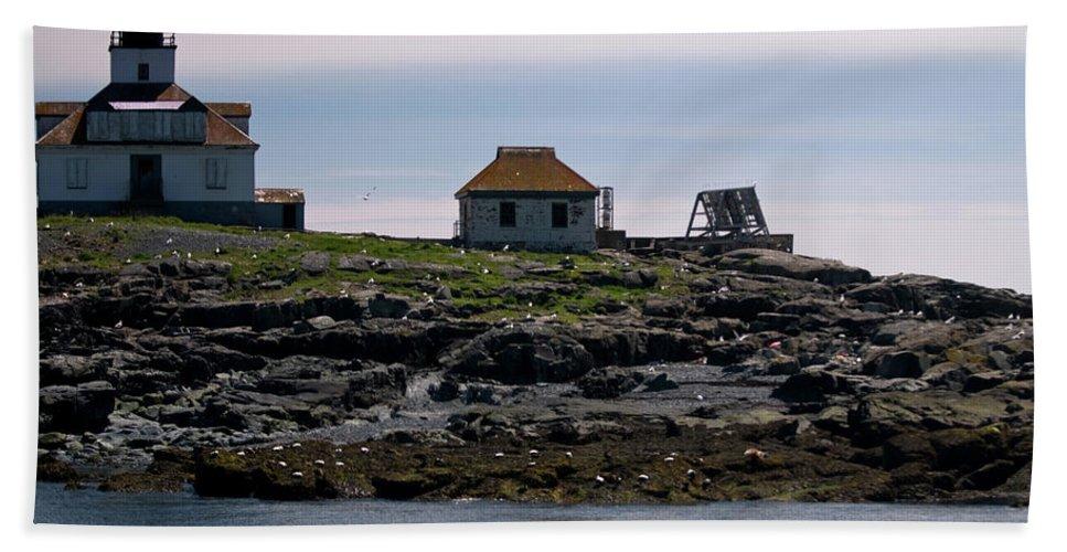 egg Rock Light Beach Towel featuring the photograph Classic Egg Rock by Paul Mangold