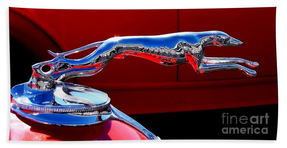 Hood Ornament Beach Towel featuring the photograph Classic Ford Greyhound Hood Ornament by Patricia L Davidson