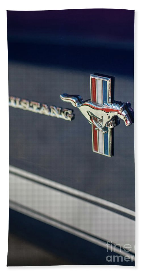 Chevy Beach Towel featuring the photograph Classic Mustang Logo Closeup by Mike Reid