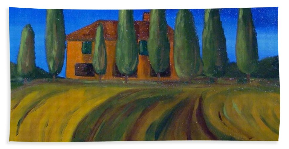 Tuscany Beach Towel featuring the painting Classic Tuscan Sunset by Laurie Morgan
