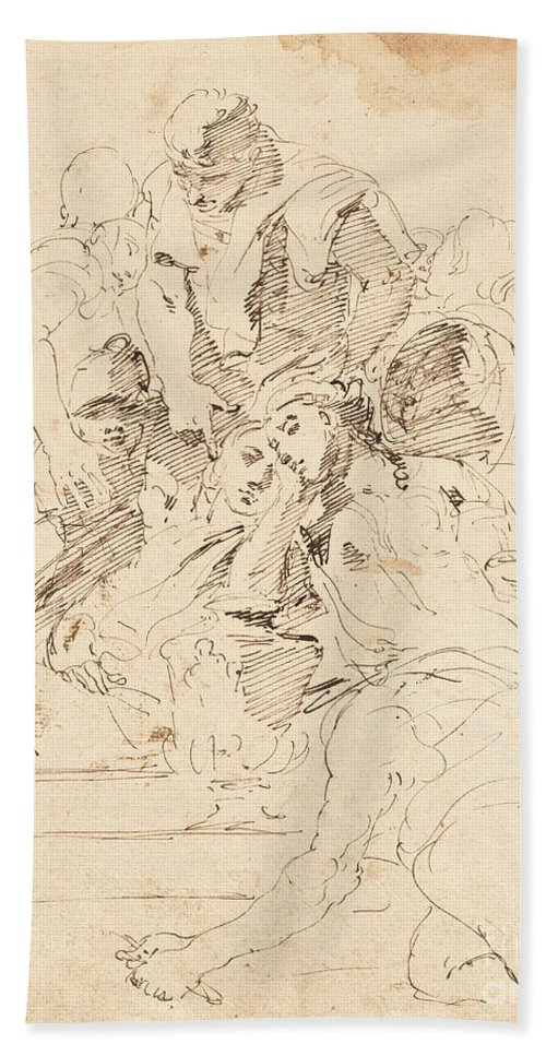 Beach Towel featuring the drawing Classical Figures Gathered Around An Urn by Giovanni Battista Tiepolo