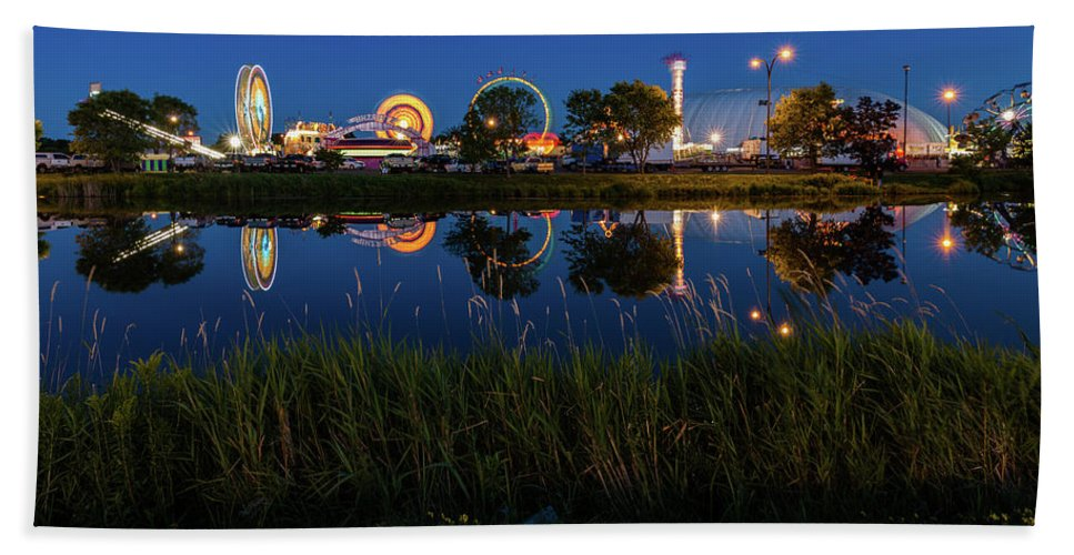 Cle Lights Beach Towel featuring the photograph Cle Reflection by Linda Ryma