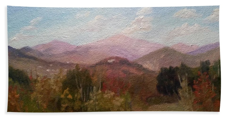 Mt. Washington Beach Towel featuring the painting Clear September Afternoon by Sharon E Allen