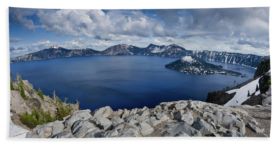 Cascades Beach Towel featuring the photograph Clearing Storm At Crater Lake by Greg Nyquist