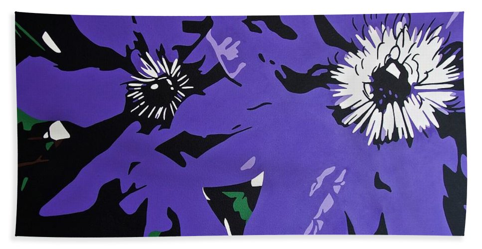 Macro Beach Towel featuring the painting Clematis Jackmanii by Susan Porter
