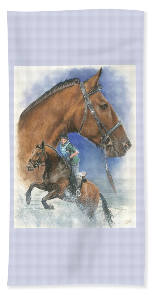 Hunter Jumper Beach Towel featuring the mixed media Cleveland Bay by Barbara Keith