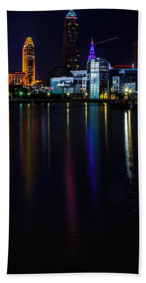 Cleveland Beach Towel featuring the photograph Cleveland Nightly Reflections by Stewart Helberg