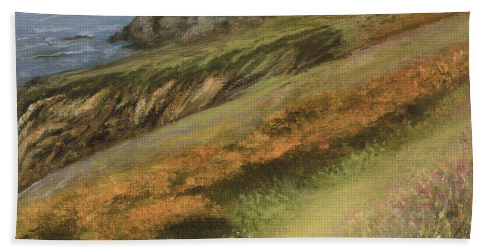 Cliffs Beach Towel featuring the painting Cliff Walk by Valerie Travers