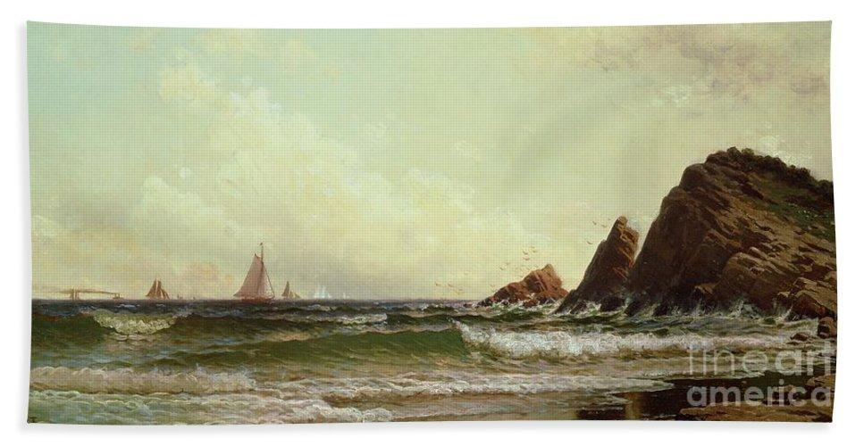Cliffs At Cape Elizabeth Beach Towel featuring the painting Cliffs At Cape Elizabeth by Alfred Thompson Bricher