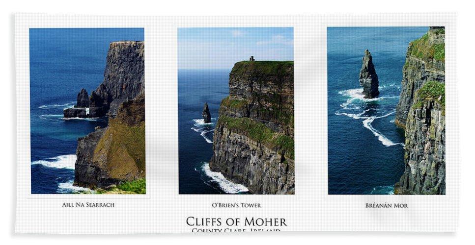 Irish Beach Sheet featuring the photograph Cliffs Of Moher Ireland Triptych by Teresa Mucha