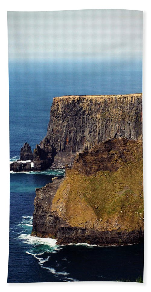 Irish Beach Towel featuring the photograph Cliffs Of Moher Ireland View Of Aill Na Searrach by Teresa Mucha