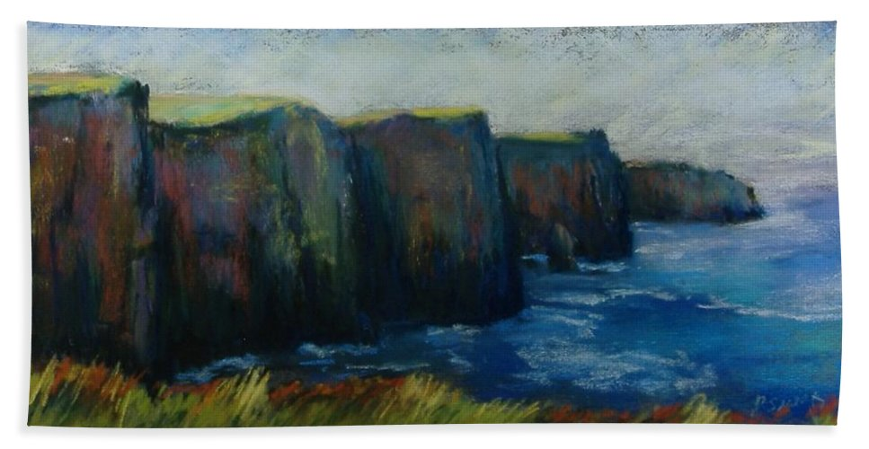 Seascape Beach Towel featuring the pastel Cliffs Of Moher by Pat Snook
