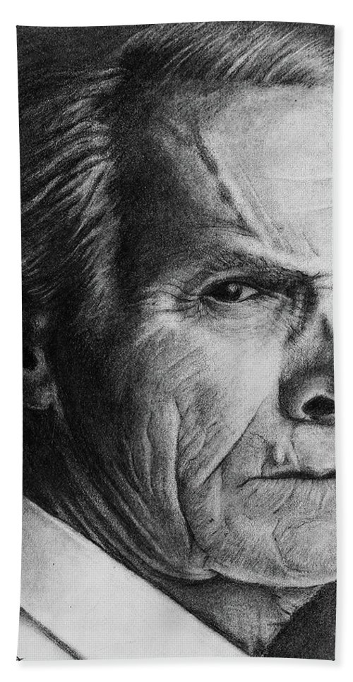 Sketch Beach Towel featuring the drawing Clint Eastwood by Sunjay Menon