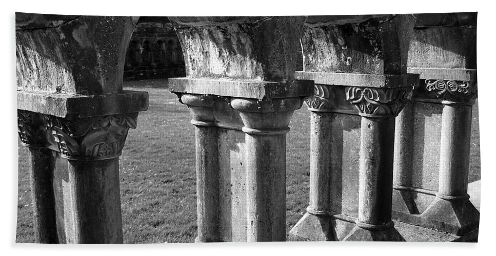 Irish Beach Sheet featuring the photograph Cloister At Cong Abbey Cong Ireland by Teresa Mucha
