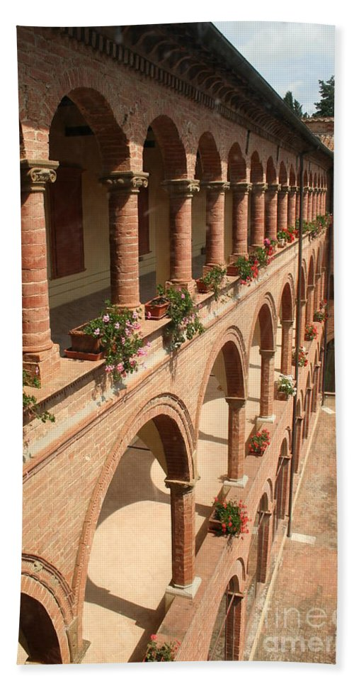 Courtyard Beach Towel featuring the photograph Cloistered Courtyard by Christiane Schulze Art And Photography