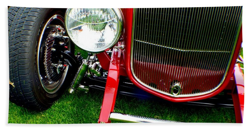 Hot Rod Beach Towel featuring the photograph Close Up by Barbara Angle