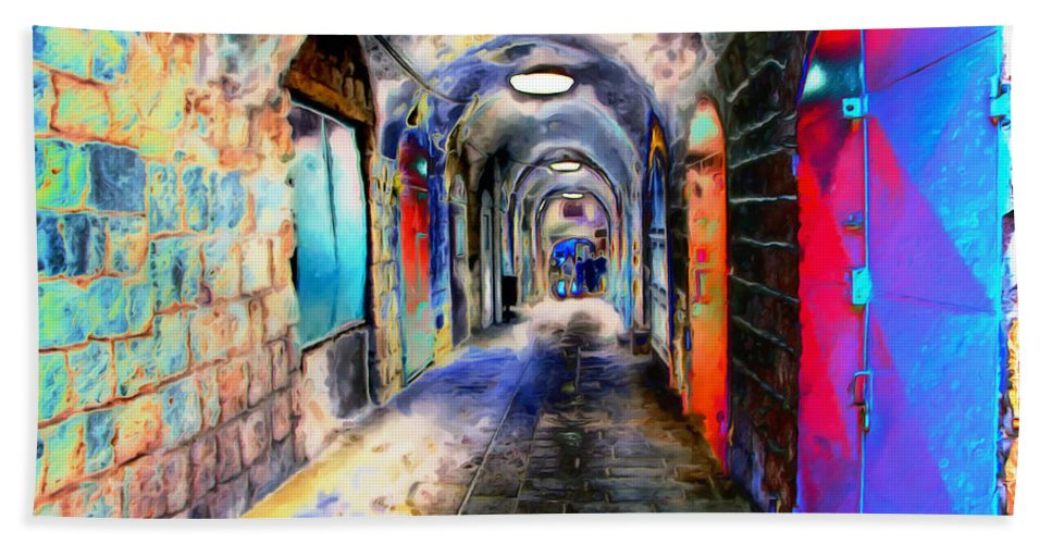Paintography Beach Towel featuring the photograph Closed Doors by Munir Alawi