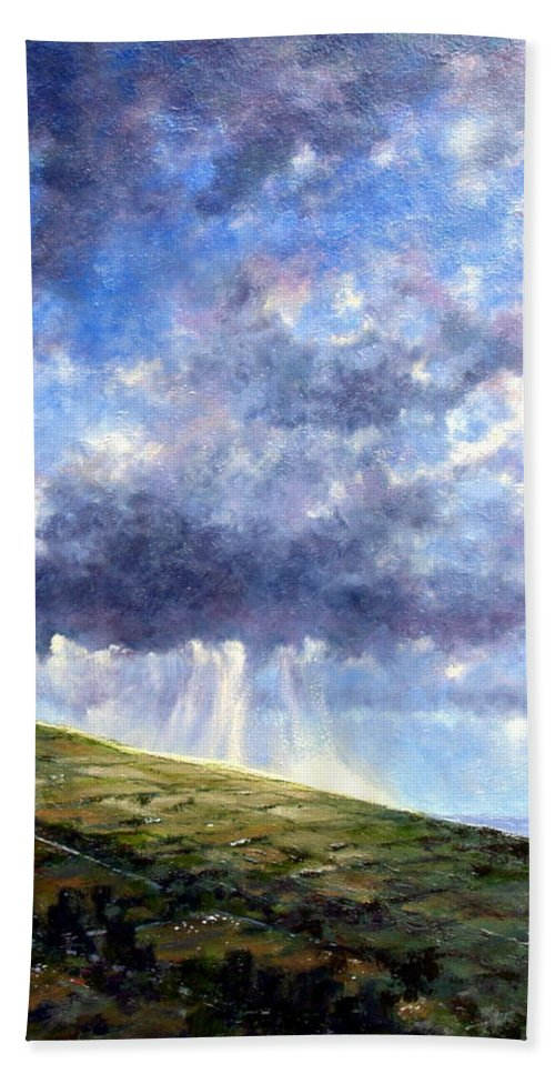 Oil Painting Beach Towel featuring the painting Cloud Burst Ireland by Jim Gola
