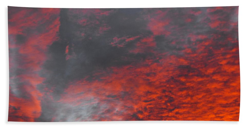Cloud Fire With Rays Beach Towel featuring the photograph Cloud Fire With Rays by Ginger Repke
