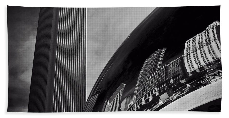 Chicago Beach Towel featuring the photograph Cloud Gate And Aon Center Black And White by Roger Passman