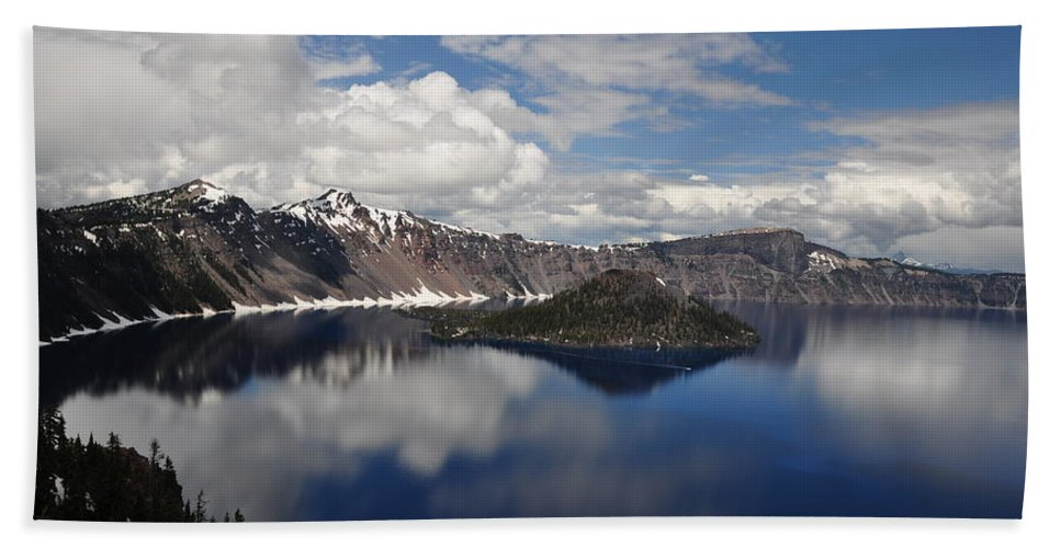 Lake Beach Towel featuring the photograph Cloud Reflections by Terry Anderson
