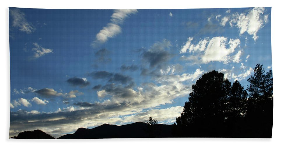 Sky Beach Towel featuring the photograph Cloud Sweep And Silhouette by Ric Bascobert