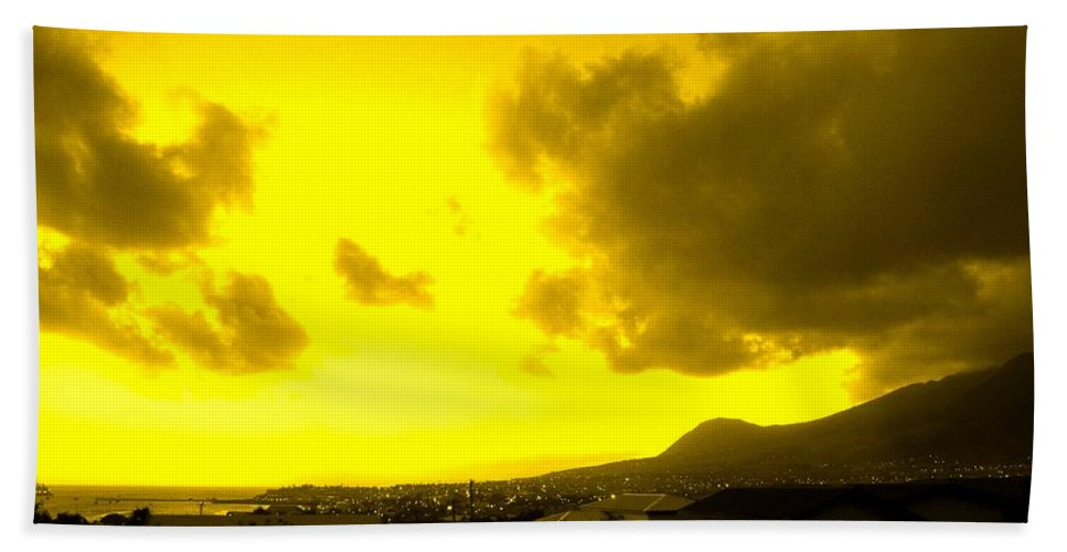 St Kitts Beach Towel featuring the photograph Clouds At Sunset Over Basseterre by Ian MacDonald