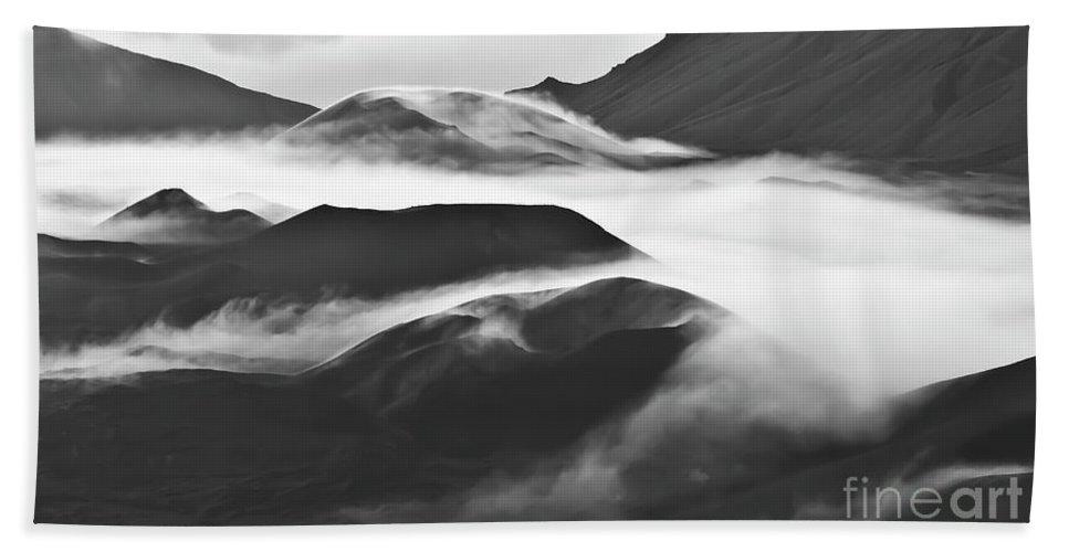 Mountains Beach Towel featuring the photograph Maui Hawaii Haleakala National Park Clouds In Haleakala Crater by Jim Cazel